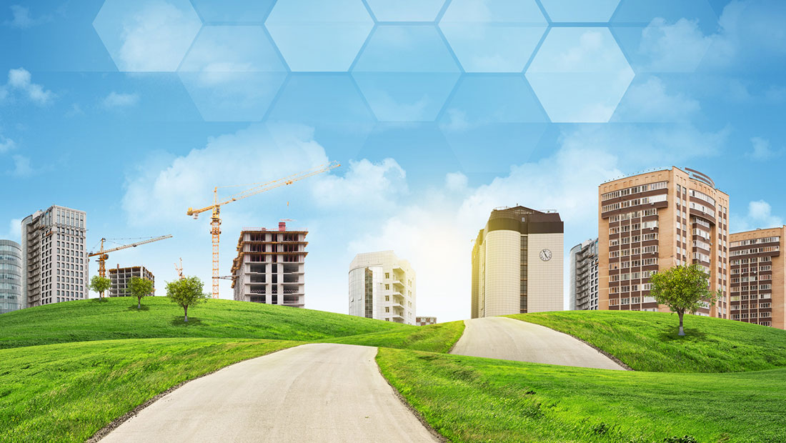 photodune-9561528-buildings-construction-site-green-hills-road-and-transparent-hexagons-m-image