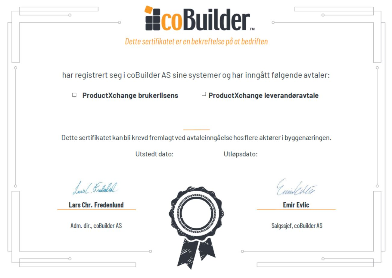 ProductXchange Sertifiakt leverandøravtale og brukerlisens