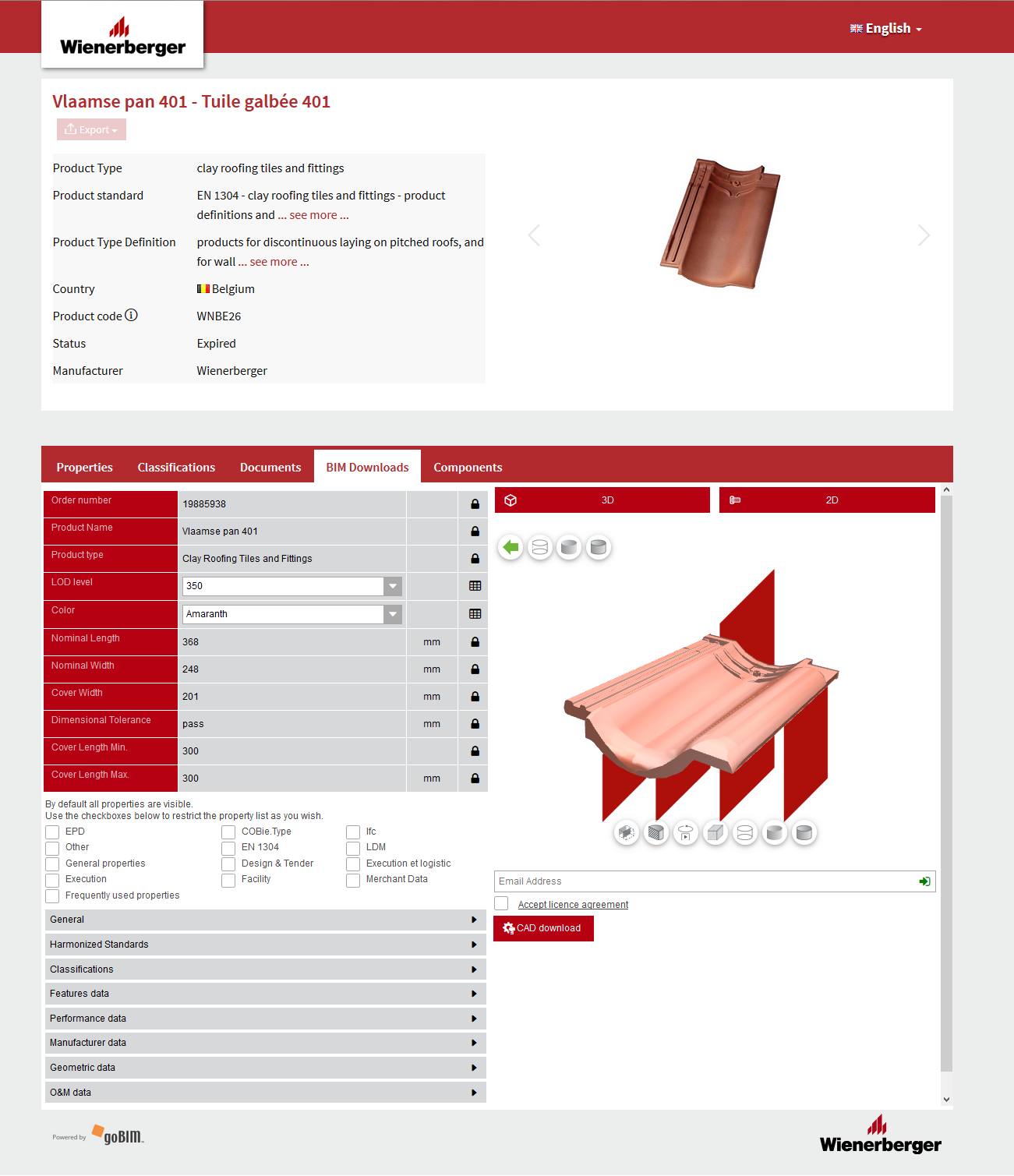Interface of Wienerberger's branded digital catalogue powered by Cobuilder and CADENAS