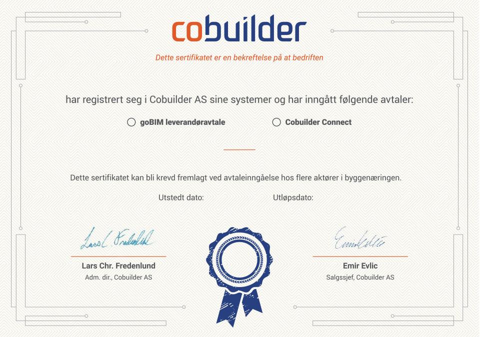 Sertifikat goBIM og Cobuilder Connect